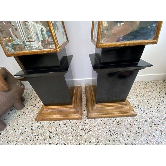 "Vintage Obelisks 73"" Italian Florentine Giltwood and Antiqued Mirror - a Pair For Sale - Image 10 of 12"