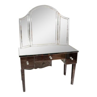 Custom Mirrored Vanity with Tryptic Mirror For Sale