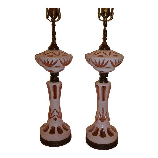 Exquisite fine bohemian cut cased glass oil lamp form table lamps fine bohemian cut cased glass oil lamp form table lamps image 1 of 11 aloadofball Choice Image