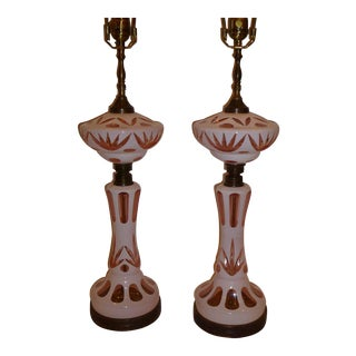 Pair of Bohemian Cut Cased Glass Oil Lamp Form Table Lamps For Sale