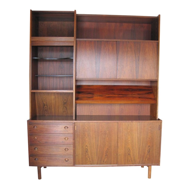 Danish Modern Rosewood Shelving Unit With Bar - Image 1 of 9