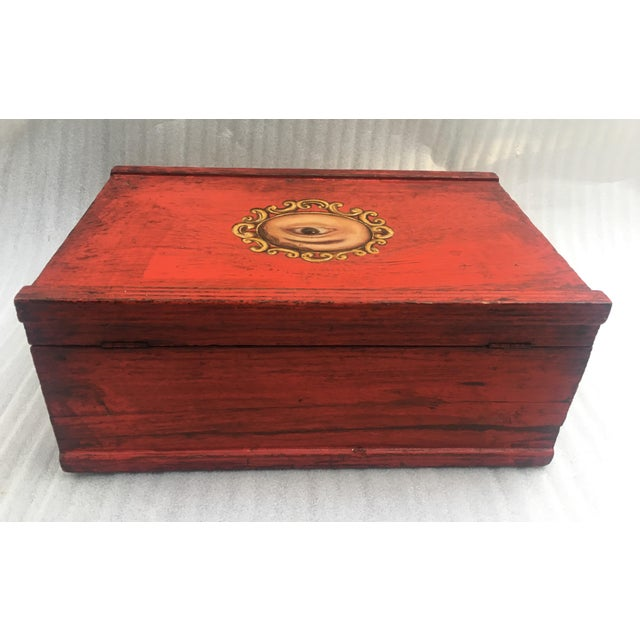 Antique Chinese Red Lacquer Box For Sale - Image 9 of 11