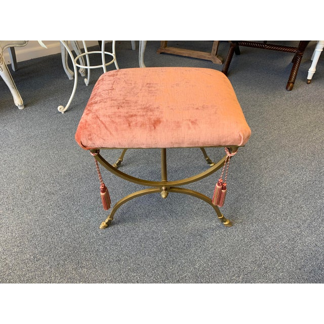 Vintage Brass Toned Hoofed Vanity Stool Newly Recovered with Rose Toned Silk Velvet Upholstery and Tassels Detail. Tassels...