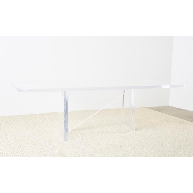 Monumental Italian Moderne Sculptural Lucite Dining Table For Sale - Image 10 of 13