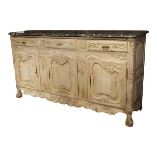 Richly Carved Antique French Enfilade in Stripped Oak With Black Marble Top For Sale