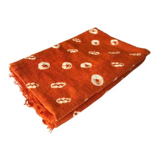 Bogolan Textile Mud Cloth Orange & White