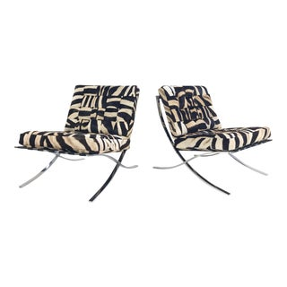 Vintage Barcelona Style Patchwork Zebra Hide Chairs - a Pair For Sale