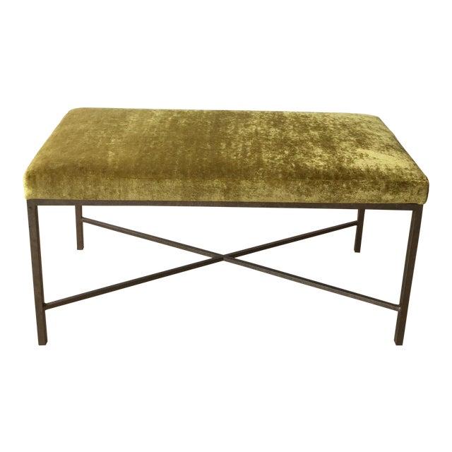 Custom Chartreuse Velvet Upholstered Bench - Image 1 of 6