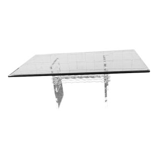 Lucite & Glass Dining Table For Sale