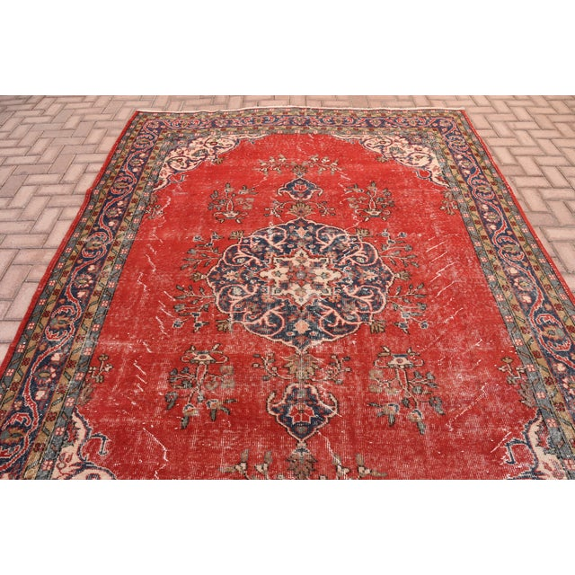 "Vintage Turkish Medallion Oushak Rug - 7'1"" X 9'10"" - Image 4 of 7"