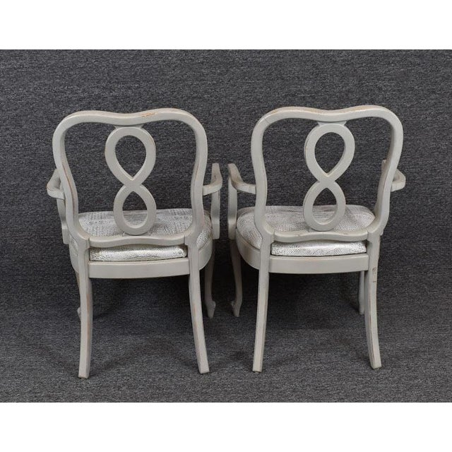 Dove Gray Set of Four French Country Louis XV Style Dining Chairs For Sale - Image 8 of 11