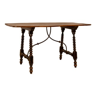 19th Century Spanish Table With Iron Stretcher For Sale