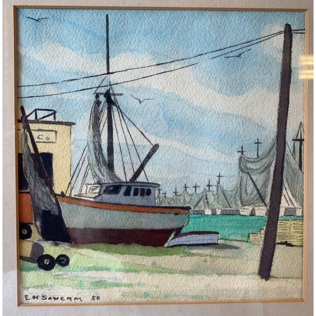 Watercolor harbor scene by Earle N. Scherm (USA: 1899-1959) The subject is a fishing boat in a commercial harbor. Behind...