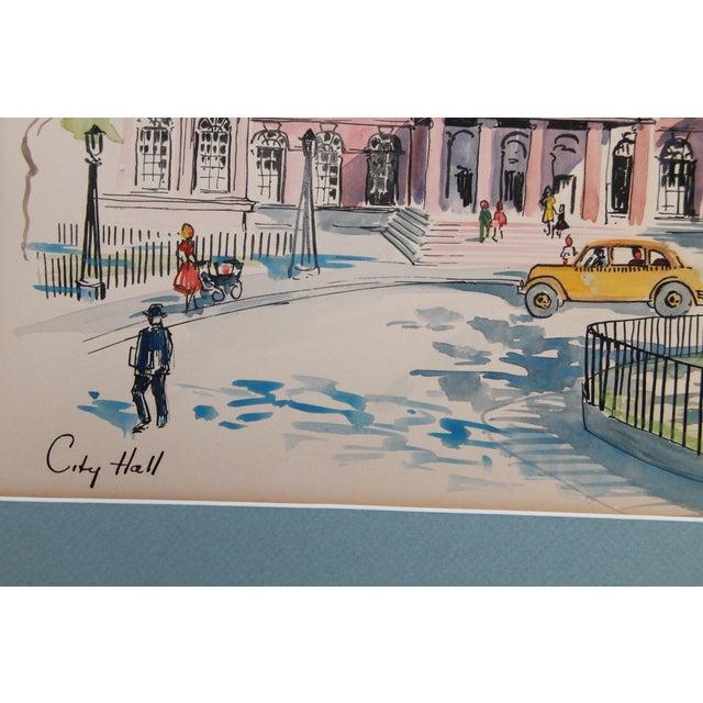 New York City Scape Original Mid Century Watercolor - Image 8 of 9