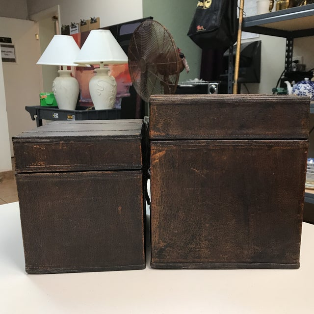 Vintage Leather Storage Boxes - A Pair For Sale In West Palm - Image 6 of 11