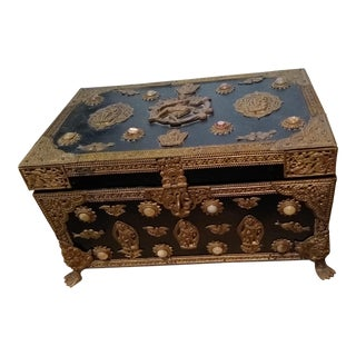 Vintage Handcrafted Treasure Chest For Sale