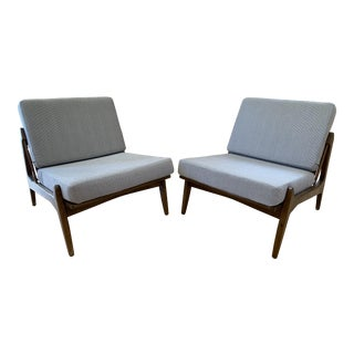 Vintage Mid Century Danish Modern Ib Kofod-Larsen Slipper or Lounge Chairs- A Pair For Sale
