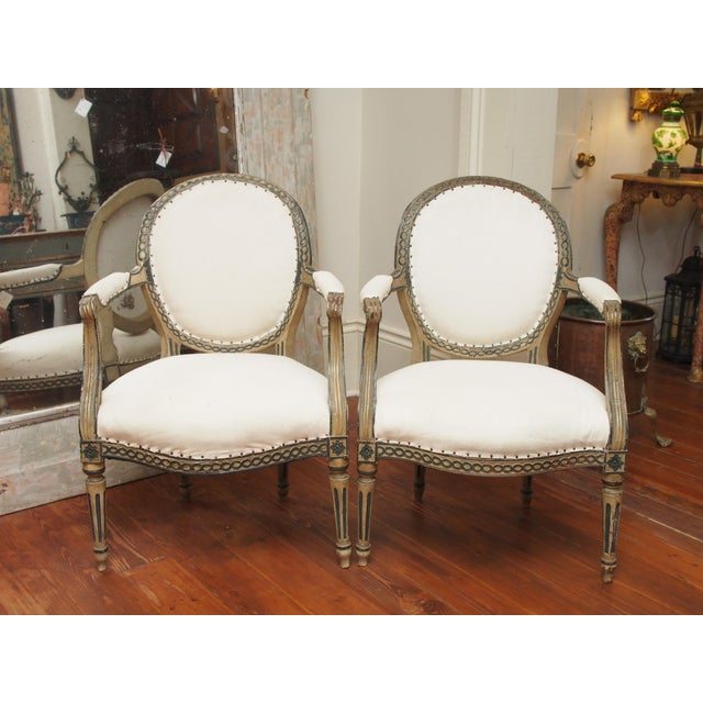 A pair of finely carved and painted side chairs with tapered and fluted legs and medallion backs with a simple rinceaux...
