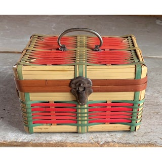 1920s Green & Red Wicker Basket Preview