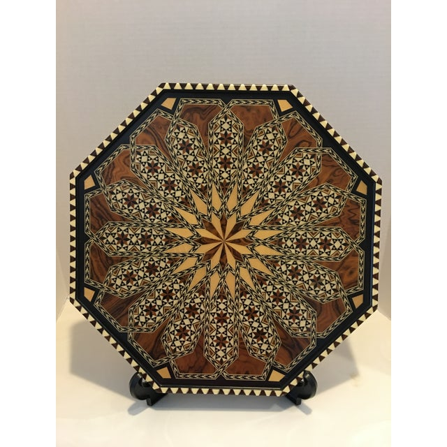 Detailed vintage octagon shaped marquetry wood inlay tray from Granada Spain by Laguna. This marquetry Inlay wooden tray...