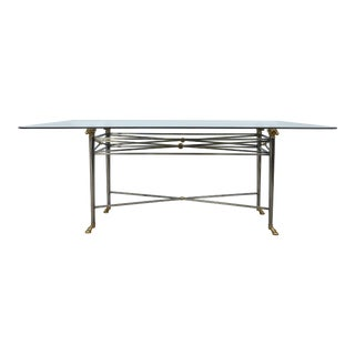 Italianate Dia Steel and Brass Dining Table With Ram's Heads & Hoof Feet For Sale