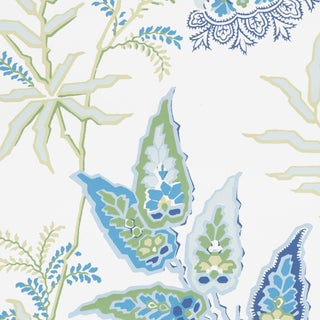 Sample - Schumacher Emperor's Vine Wallpaper in Peacock For Sale