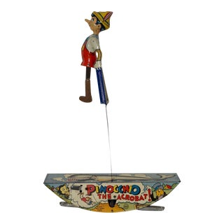 Pinocchio The Acrobat Tin Lithograph Wind-Up Toy by Marx Co. c.1939