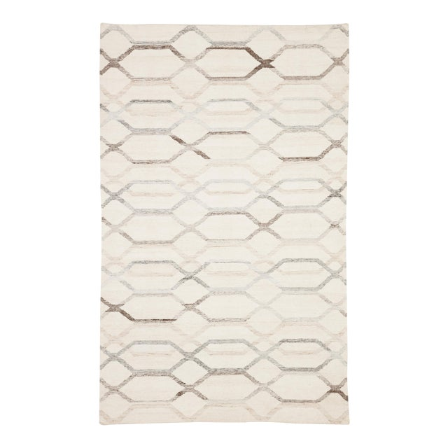 Jaipur Living Laveer Handmade Trellis Ivory & Light Gray Area Rug - 5'x8' For Sale
