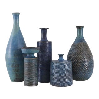 STIG LINDBERG Collection of Studio Vases Gustavsberg, Sweden, ca. 1960 For Sale