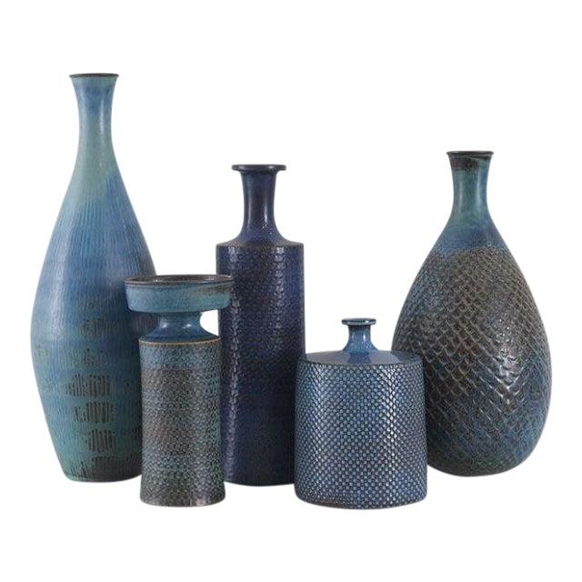 STIG LINDBERG Collection of Studio Vases Gustavsberg, Sweden, ca. 1960 For Sale