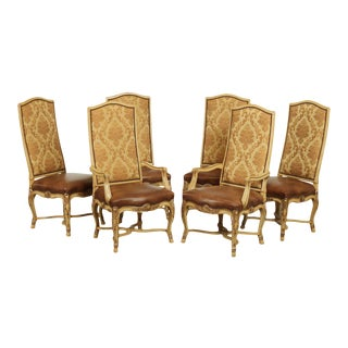 Century French Rococo Style Set 6 Carved Dining Chairs For Sale