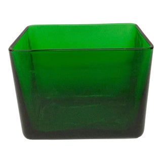 Vintage Mid-Century Modern Green Glass Planter For Sale