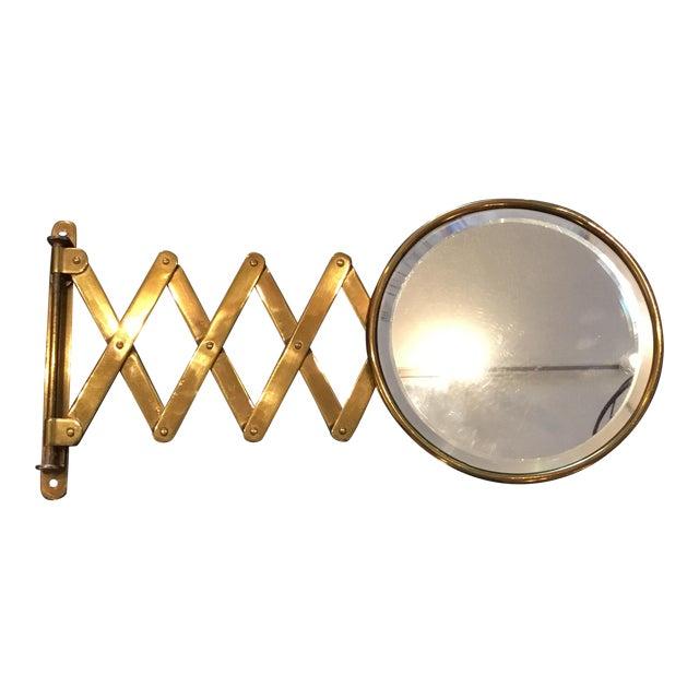 vintage brass scissor arm wall mounted shaving makeup mirror chairish. Black Bedroom Furniture Sets. Home Design Ideas