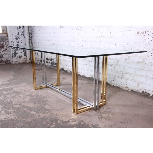 Hollywood Regency Hollywood Regency Dining Table in Brass, Chrome, and Glass For Sale - Image 3 of 8