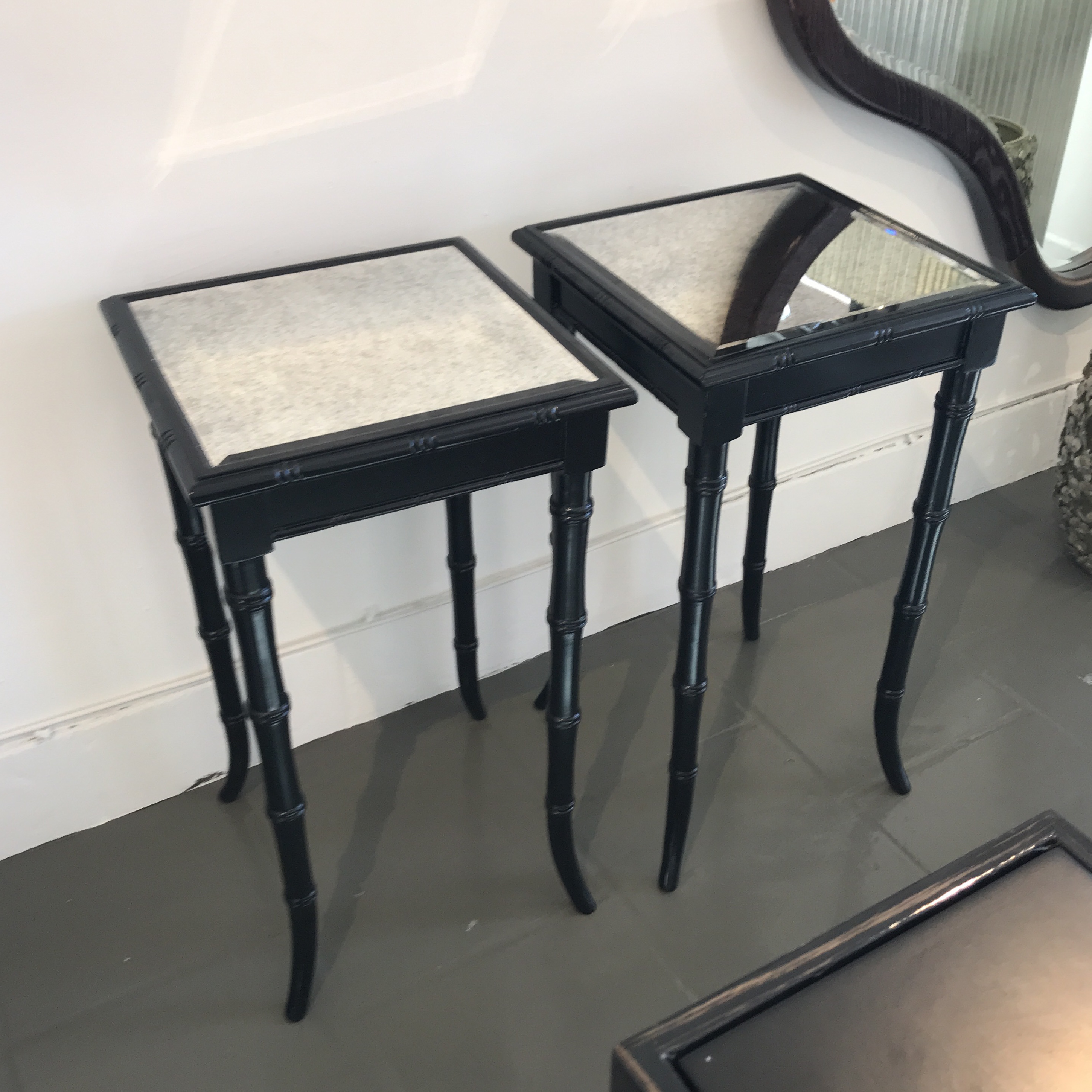 Black Bamboo Mirrored Occasional Table   Image 4 Of 7