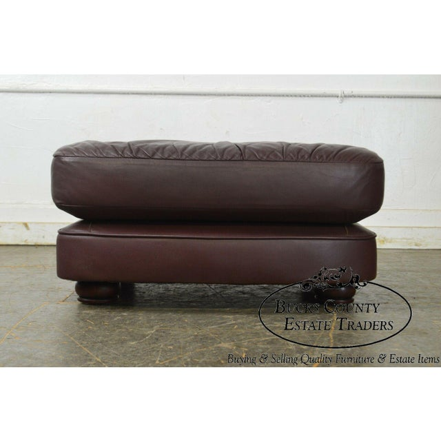 Traditional Classic Leather Bun Foot Russet Brown Leather Ottoman For Sale - Image 3 of 13