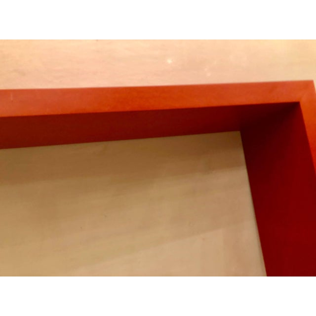 Mid-Century Modern Faux Paint Decorated Pier Console or Wooden Bench in Dark Orange Paint For Sale - Image 3 of 9