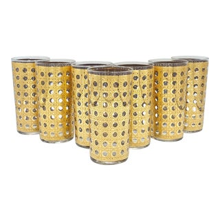 Mid-Century Culver 22k Gold Cannella Highball Cocktail Glasses - Set of 7 For Sale