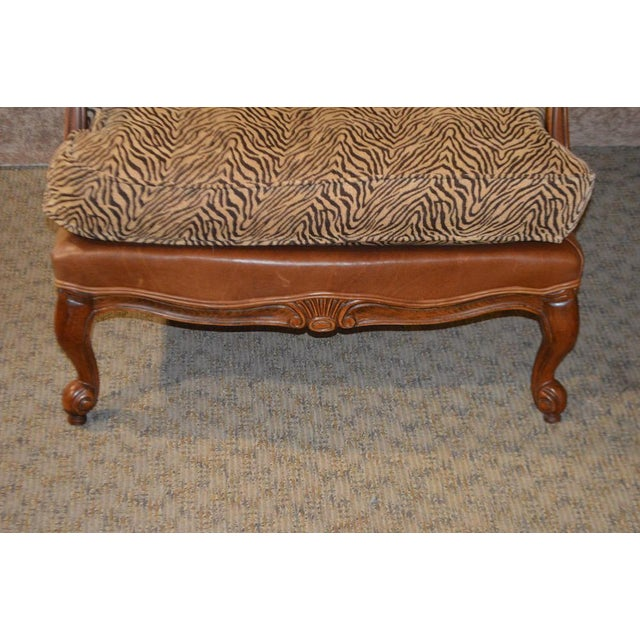 1990s Ethan Allen Multi Fabric Oversized Chair & Ottoman For Sale - Image 5 of 13