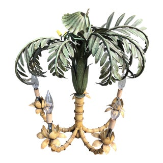 1970s Coastal Regency Palm Tree Chandelier Metal Tole Painted For Sale