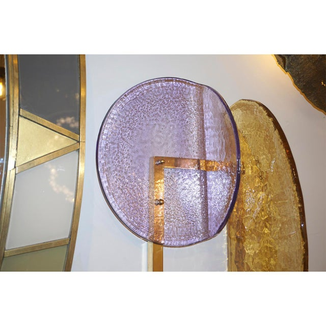 2010s Contemporary Italian Amber and Amethyst Murano Glass Gold Brass Sconces - a Pair For Sale - Image 5 of 10