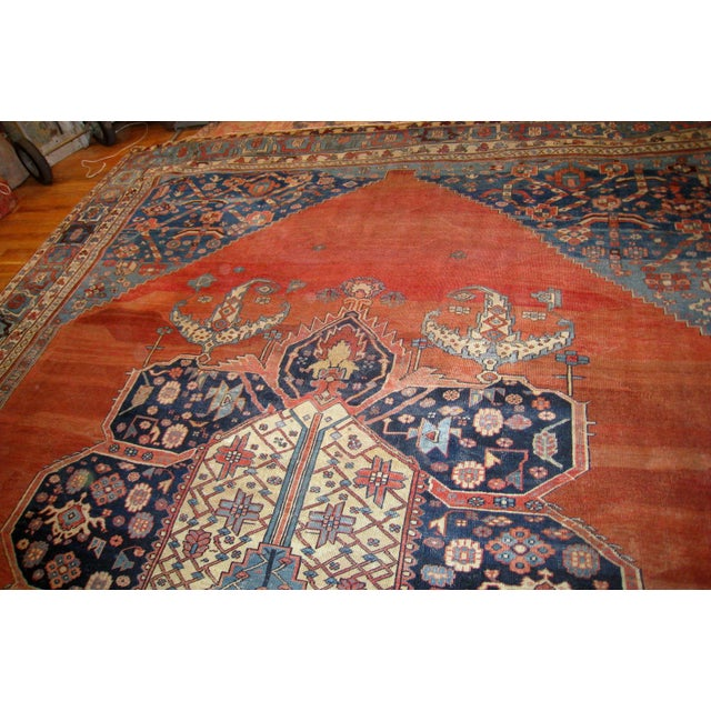 Textile 1880s, Handmade Antique Persian Bakshaish Rug 11' X 15.7' For Sale - Image 7 of 10