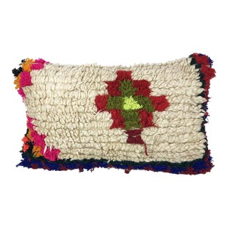 1980s Boho Chic Rug Fragment Pillow For Sale