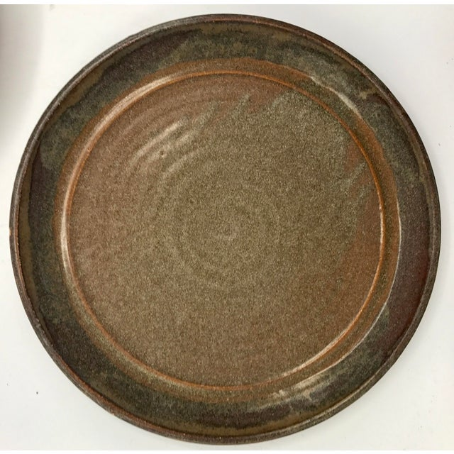 Studio Pottery Brown Clay & Glaze Plates - Set of 6 For Sale - Image 4 of 5