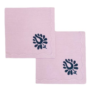 Indian Tulip Dinner Napkins, Lilac and Navy - Set of 2 For Sale