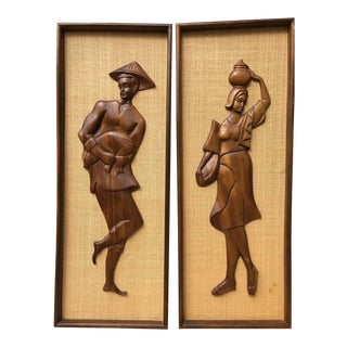 Vintage Mid-Century Figural Decorative Wall Hangings - A Pair For Sale