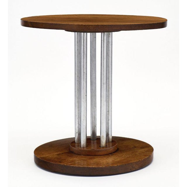 French Architectural Oak on Chromed Steel Tubes Gueridon Table For Sale - Image 4 of 10