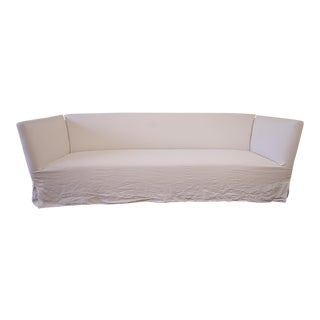 Vintage Mid Century White Linen Slip Covered Shelter Arm Modern Sofa For Sale