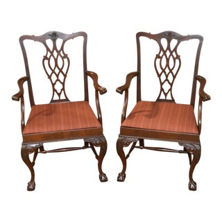 Vintage Chippendale Style Carved Mahogany Arm Chairs - a Pair