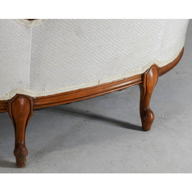 Early 19th Century French Victorian Fabric With Wood Sofa For Sale - Image 10 of 11